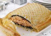 Salmon En Croute with Tarragon Butter and Wilted Spinach