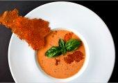 Creamy, Garlicky Tomato Gazpacho With Crunchy Pecorino