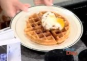 Leavened Cornmeal Waffle With Braised Pork Belly And Sunny-side Egg