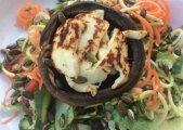 Popped Pumpkin Seed, Mushroom & Halloumi Salad