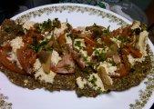 Raw Mediterranean Pizza on Zucchini-Broccoli Crust with Herbed Pine Nut Macadamia Cheese