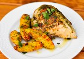 Chicken With Roasted Garlic-Oregano Vinaigrette And Grilled Fingerling Potatoes