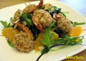 Panko Crusted Shrimp on Salad