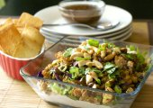 Layered Oriental Chicken Dip With Wonton Dippers
